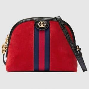 Gucci Red Suede Ophidia Domed Shape Shoulder Bag