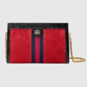 Gucci Red Suede Ophidia Small Shoulder Bag