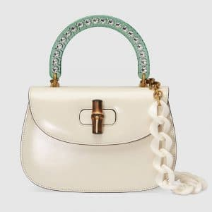 Gucci White Bamboo Top Handle Bag