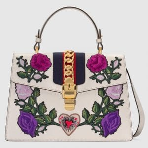 Gucci White Floral Embroidered Sylvie Medium Top Handle Bag