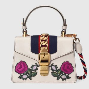 Gucci White Floral Embroidered Sylvie Mini Top Handle Bag