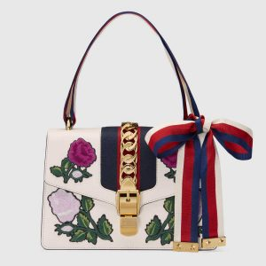 Gucci White Floral Embroidered Sylvie Small Shoulder Bag