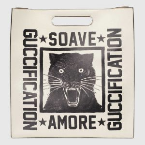 Gucci White Soave Amore Guccification Print Tote Bag