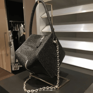 Louis Vuitton Black Glittered Cube-Shaped Bag