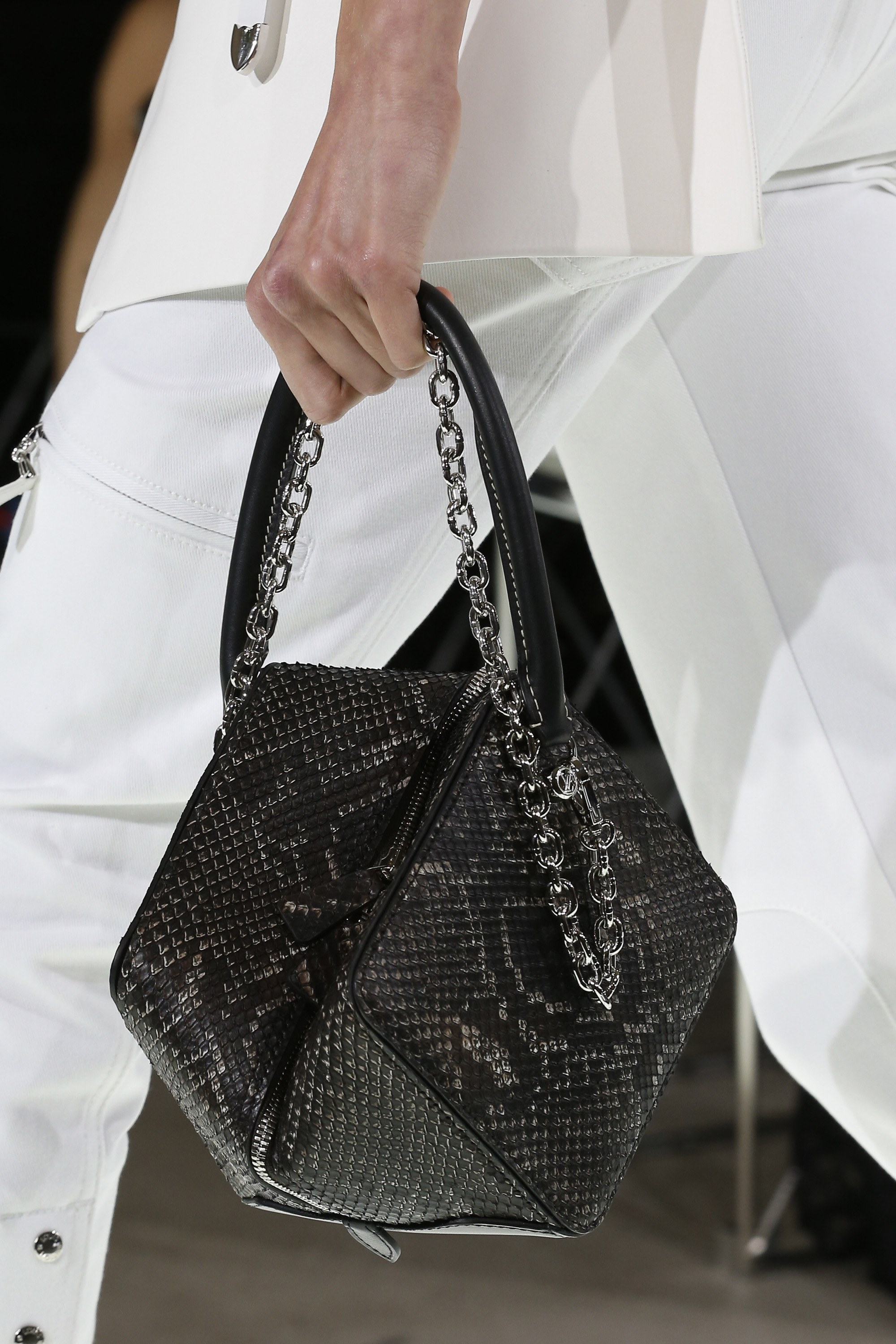 Louis Vuitton Black Python Cube Shaped Top Handle Bag Spring 2018