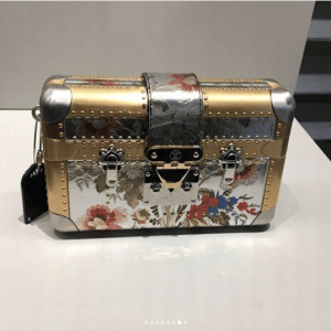 Louis Vuitton Gold/Silver Floral Petite Malle Bag