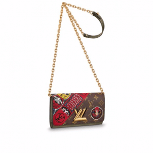Louis Vuitton Monogram Canvas with Kabuki Stickers Twist Chain Wallet