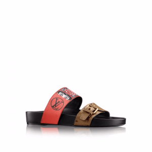 Louis Vuitton Red Calf Leather:Monogram Reverse with Kabuki Stickers Kyoto Sandal