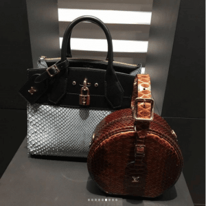 Louis Vuitton White/Black Python City Steamer and Brown Python Mini Hat Box Bags