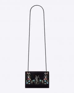 Saint Laurent Black/Multicolor Suede with Beads Kate Berber Pouch Bag