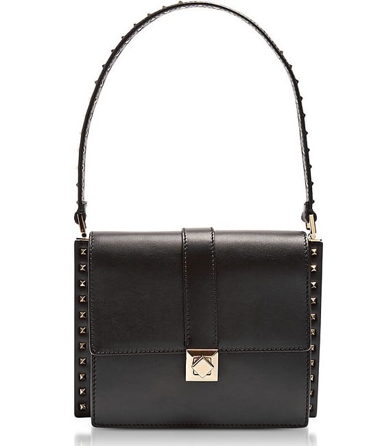 Valentino Black Leather Shoulder Bag w:Small Studs