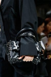 Valentino Black Printed Rockstud Top Handle Bag - Spring 2018