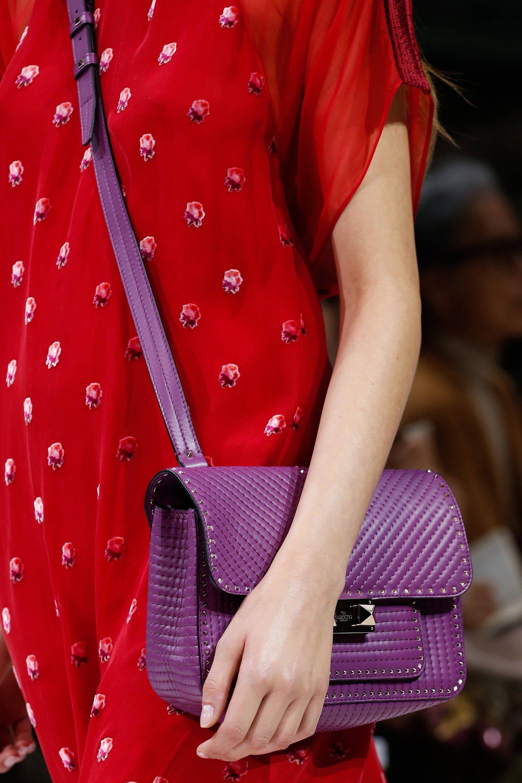 Valentino Spring Summer 2018 Runway Bag Collection Spotted Fashion Ziggy Satchel Black Purple Stud Crossbody