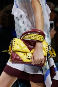 Valentino Yellow/Burgundy Rockstud Top Handle Bag - Spring 2018