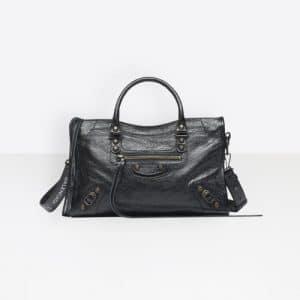 Balenciaga Black Classic City with Logo Strap Bag
