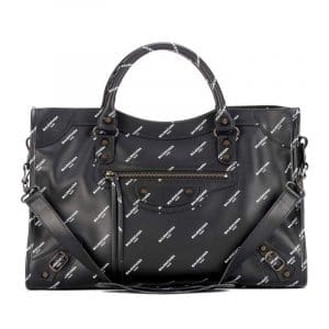 Balenciaga Black All Over Logo Print Calfskin Classic City Bag