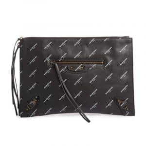 Balenciaga Black All Over Logo Print Calfskin Classic Pouch Bag