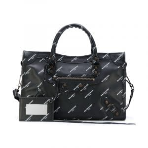 Balenciaga Black All Over Logo Print Calfskin Classic Small City Bag