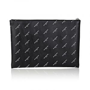 Balenciaga Black All Over Logo Print Calfskin Clip Medium Pouch Bag