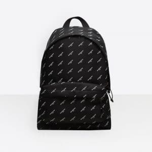 Balenciaga Black All Over Logo Print Canvas Explorer Backpack Bag