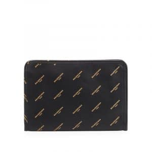Balenciaga Black All Over Logo Stamped Calfskin Bazar Mini Pouch Bag