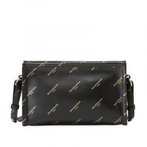 Balenciaga Black All Over Logo Stamped Calfskin Bazar Pochette Crossbody Bag