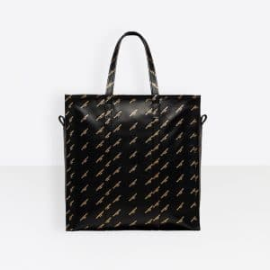 Balenciaga Black All Over Logo Stamped Calfskin Bazar Shopper M Bag