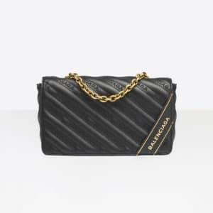 Balenciaga Black Blanket Chain Wallet Bag