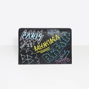 Balenciaga Black Graffiti Bazar Pouch Bag