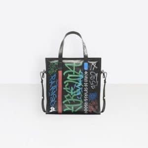Balenciaga Black Graffiti Bazar Shopper S Bag