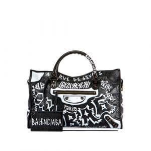 Balenciaga Black Graffiti Classic City Bag