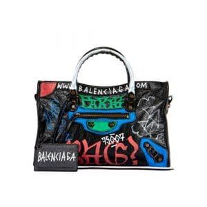 Balenciaga Black Graffiti Classic City S Bag