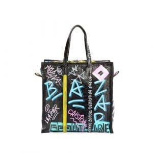 Balenciaga Black/Multicolor Graffiti Bazar Shopper M Bag