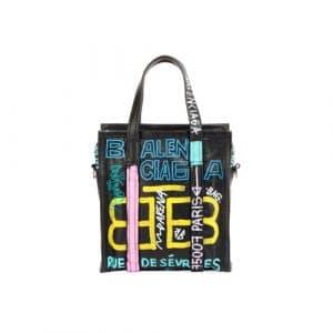 Balenciaga Black/Multicolor Graffiti Bazar Shopper S Bag