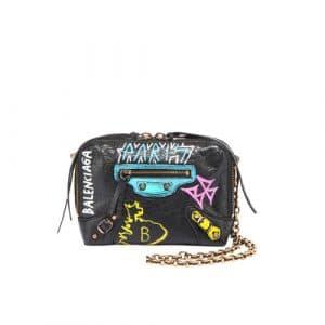 Balenciaga Black/Multicolor Graffiti Classic Reporter XS Bag
