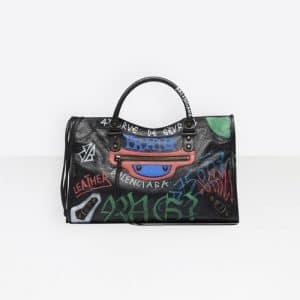 Balenciaga Black/White Graffiti Classic City Bag
