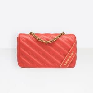 Balenciaga Rouge Tango Blanket Chain Wallet Bag