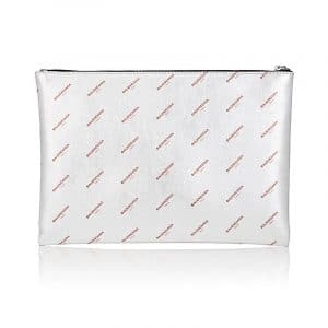 Balenciaga Silver All Over Logo Print Calfskin Clip Medium Pouch Bag