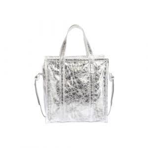 Balenciaga Silver Metallic Bazar Shopper S Bag