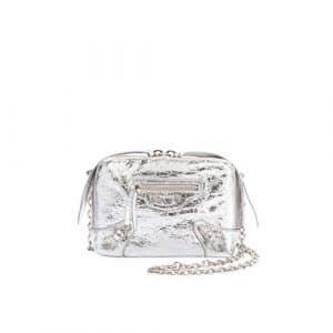 Balenciaga Silver Metallic Classic Reporter XS Bag