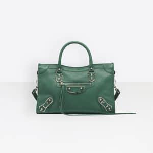 Balenciaga Vert Perroquet Classic Metallic Edge City S Bag
