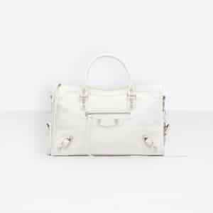 Balenciaga White/Black Classic City S Bag
