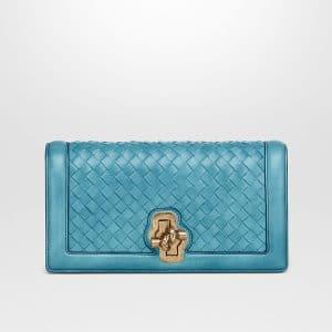 Bottega Veneta Aqua Intrecciato Nappa Top Knot Clutch Bag