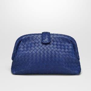 Bottega Veneta Cobalt Blue Intrecciato Nappa Top The Lauren 1980 Clutch Bag