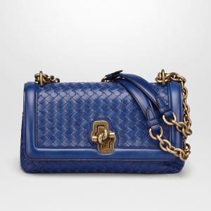 Bottega Veneta Cobalt Intrecciato Nappa Top Olimpia Knot Bag