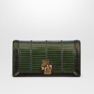 Bottega Veneta Ivy Dark Moss Elaphe Knot Clutch Bag