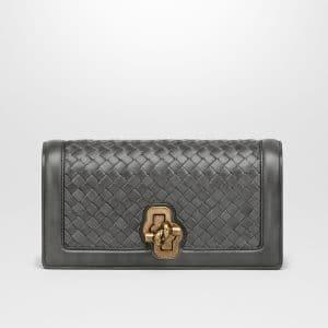 Bottega Veneta Light Grey Intrecciato Nappa Top Knot Clutch Bag