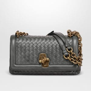 Bottega Veneta Light Grey Intrecciato Nappa Top Olimpia Knot Bag
