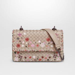 Bottega Veneta Mink Intrecciato Meadow Flower Baby Olimpia Bag