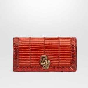Bottega Veneta Terracotta Elaphe Knot Clutch Bag